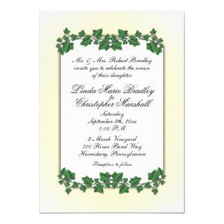 Green Leaves and Yellow Cream Wedding Invitation