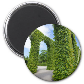 Green leaves arches 2 inch round magnet