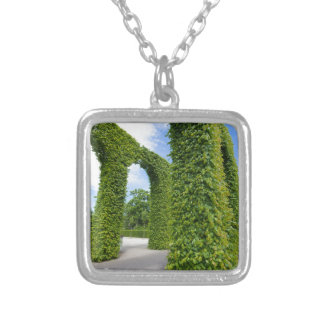 Green leaves arches silver plated necklace
