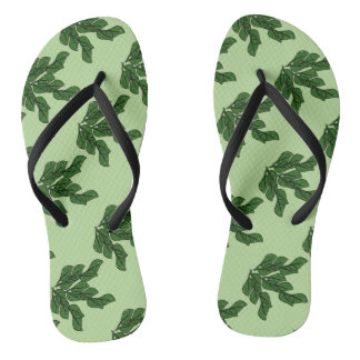 Green leaves artwork in a pattern light green B/G Flip Flops