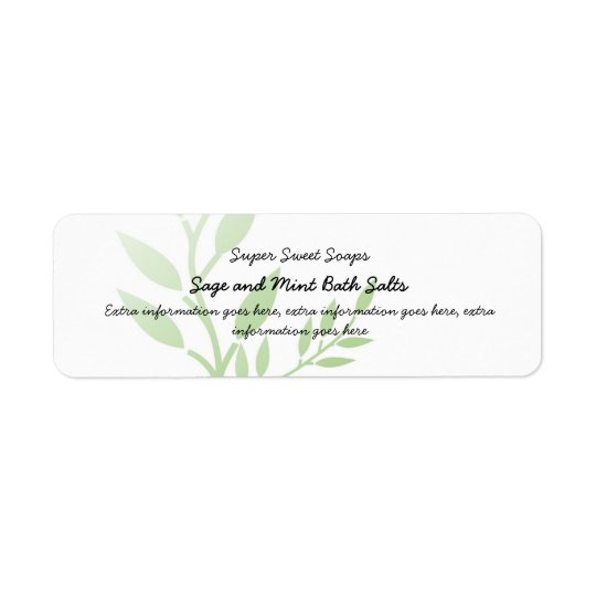 Green Leaves Bath Spa Products Label