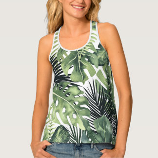 Green Leaves Botanical Tropical Plants Summer Chic Tank Top