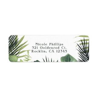 Green Leaves Botanical Tropical Plants Wedding Return Address Label