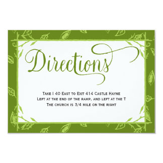 Green Leaves Country Wedding Directions Card