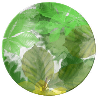 Green leaves Decorative Porcelain Plate