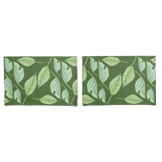 Green Leaves Drawing Custom Pillow Cases Pillowcase