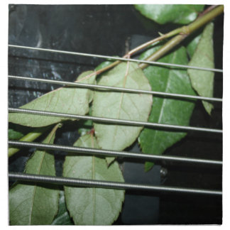 green leaves five string bass musical instrument cloth napkins