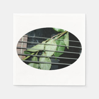 green leaves five string bass musical instrument paper napkins