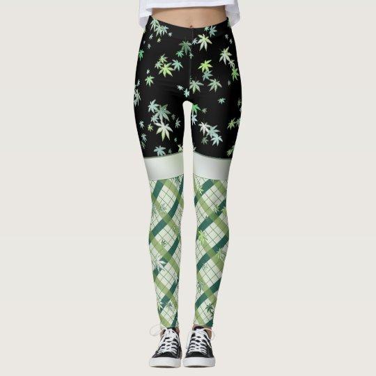 Green Leaves Geometric Leggings