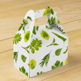 Green Leaves Isolated on White Background Favor Boxes