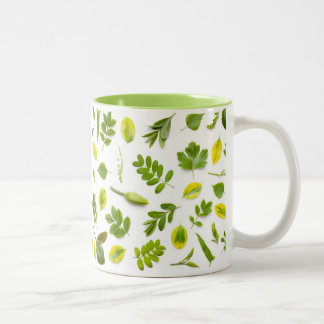 Green Leaves Isolated on White Background Two-Tone Coffee Mug