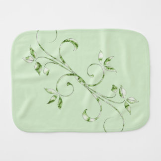 Green Leaves on Mint Green Baby Burp Cloths