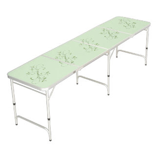 Green Leaves on Mint Green Beer Pong Table