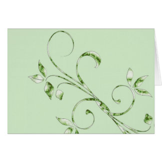 Green Leaves on Mint Green Card