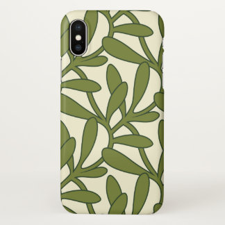 Green Leaves on Tan / Cream iPhone X Case