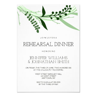 Green leaves rehearsal dinner invitations