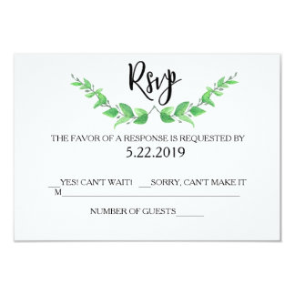 Green Leaves RSVP Card