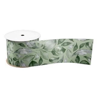 Green leaves satin ribbon