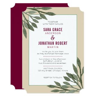 Green Leaves Tan Border Burgundy Text Wedding Card