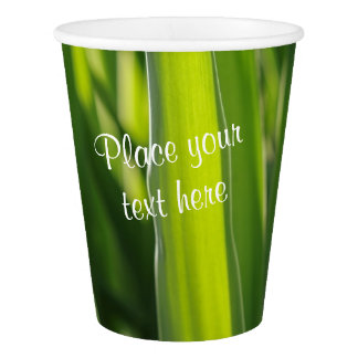 Green leaves texture paper cup