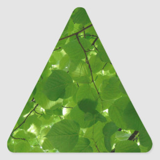 Green Leaves Triangle Sticker