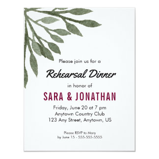 Green Leaves Watercolor Burgundy Rehearsal Dinner Card
