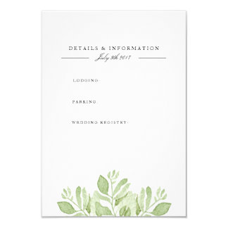 Green Leaves | Watercolor Information Card