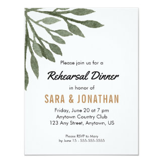 Green Leaves Watercolor Wedding Rehearsal Dinner Card