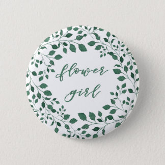 Green leaves watercolor wreath | Flower girl 2 Inch Round Button
