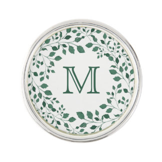 Green leaves watercolor wreath | Monogram Lapel Pin