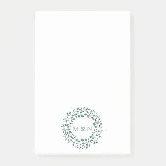 Green leaves watercolor wreath | Monogram Wedding Post-it Notes