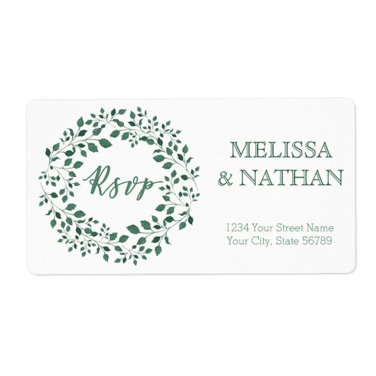 Green leaves watercolor wreath RSVP Wedding Label