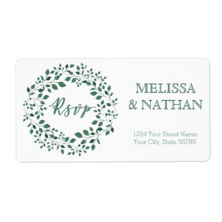 Green leaves watercolor wreath RSVP Wedding Label Shipping Label