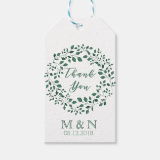 Green leaves watercolor wreath | Thank You Wedding Gift Tags