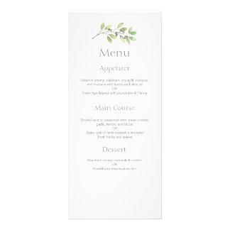 Green leaves wedding dinner menu