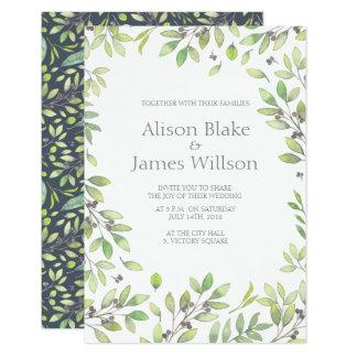 Green leaves wedding invitation