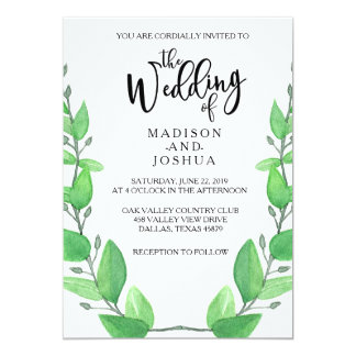 Green Leaves Wedding Invitation