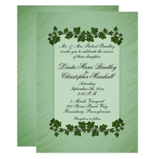 "Green Leaves Wedding Invitation: 4.25"" x 5.5"" Card"