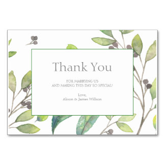 Green leaves wedding thank you card