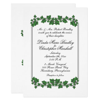 Green Leaves White Wedding Invitation