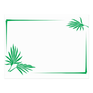 Green leaves with border postcard