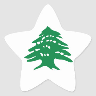 Green Lebanon Cedar Tree Star Sticker
