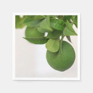 Green lemons on branch disposable napkin