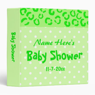 Green Leopard and Polka Dot Baby Shower Binder