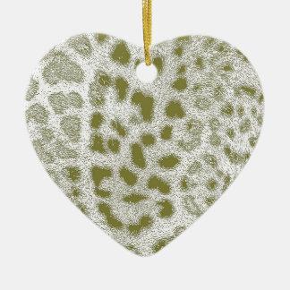 Green Leopard Ceramic Heart Ornament