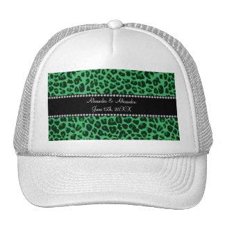Green leopard pattern wedding favors trucker hat