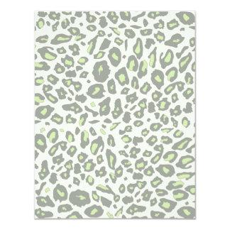 """Green leopard print 4.25"""" x 5.5"""" invitation card"""