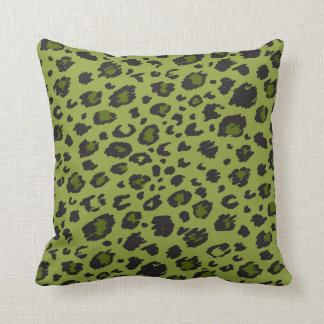 Green Leopard Print Pillow