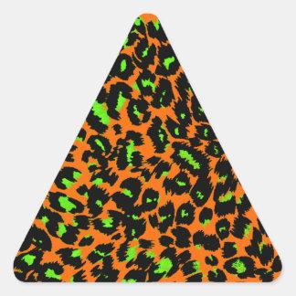 Green Leopard Spots on Orange Triangle Sticker