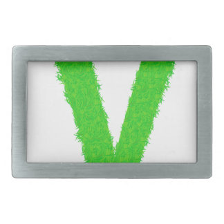 green letter rectangular belt buckle